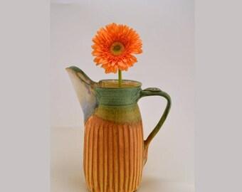 Large handmade pitcher /stoneware pitcher/tuscany /burnt sienna brown/copper green/ decorative pitcher/ Home Decor/Centerpiece