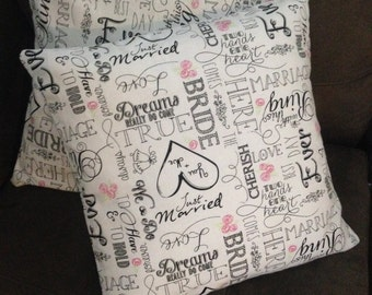Pillow covers • I do • bride • groom • just married • wedding • pillow cover set • 16 x 16