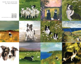 six assorted border collie cards - all from paintings by Beth Robinson
