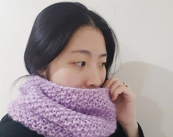 READY TO SHIP-Lilac Cowl - Seed stitch neckwarmer - Winter Cowl in Light Purple - Knit winter cowl | neckwarmer | collar | scarf