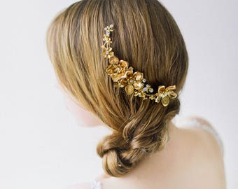 Braut Hochzeit Haarkamm, Gold Braut Kopfschmuck, Blumen Hochzeit Kopfschmuck, Crystal Floral Haare kämmen, Crystal Headpiece - Stil 603