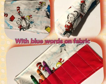 Crayon Roll Dr Seuss with words More crayon rolls in shop