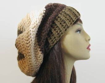Crochet Slouchy Hat Brown Slouch Hat Dark Brown Beanie Brown Striped Brown Slouch knit Tam Slouchy Brown Beanie Dark Brown Hat Slouch Beanie