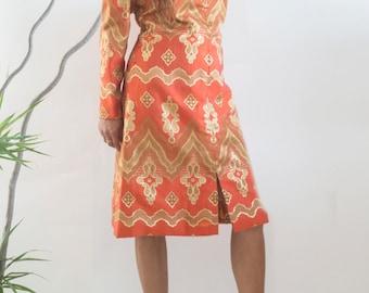 MOLLIE PARNIS// Designer Vintage// Lurex Brocade Orange Shift// Mod Luxe