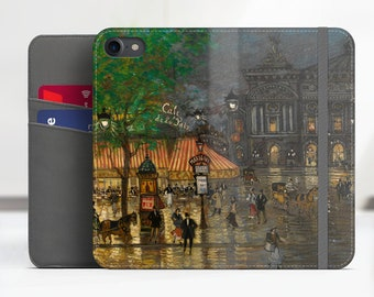 "Korovin ""Place de l'Opera, Paris"" iPhone 7 folio case Samsung Galaxy S8 folio case iPhone 8 folio Phone cover for iPhone, Samsung. WC-KKO-02"