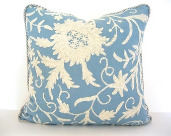 Blue and White Crewel Pillow Cover