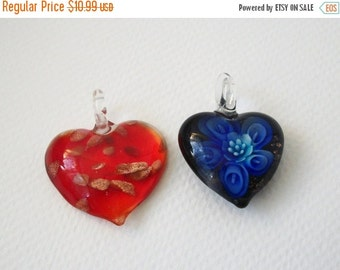 ON SALE Vintage Two Hearts Italian Murano Glass Artisan Lamp Work Pendants 112916
