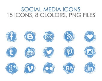 Social Media Icons Set of 15 x 8 colors peach grey darkviolet yellow blue green black salmon - PNG - Instant Download