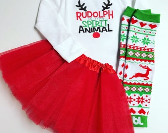 Rudolph is my Spirit Animal Baby Girl Christmas outfit with tutu and leg warmers