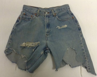 Tattered Levi Cut off Asymetrical  Raw Destroyed Shorts 29
