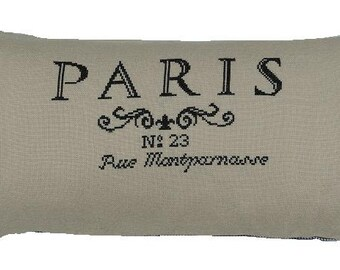 Cross stitch kit PARIS cross stitch,french country,embroidery kit,needlepoint,needlepoint kit,swedish,diy,anette eriksson,black