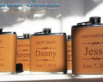 13 Leather Groomsman Flask Set ~With Free Engraving~ 6 oz Leather Wrapped Stainless Steel Flask