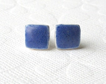 SALE! Small Blue Earrings. Squares. Stud Earrings. Cobalt Blue. Ceramic. Sapphire Blue. Royal Blue. Clay. Posts. Surgical Steel. Minimalist