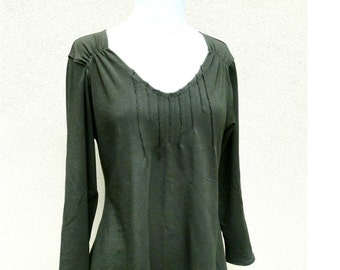 Long shirt top with asymmetrical hem and pin tucks, made to order, more colors, handmade organic clothes