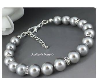 Swarovski Bracelet Jewelry Bridesmaid Bracelet Jewelry Gift Wedding Jewelry Gift for Her Maid of Honor Gift for Momss Gray Pearl Bracelet