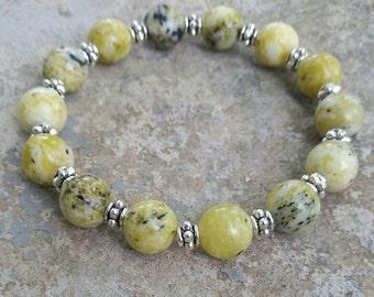 Yellow turquoise bracelet 10mm Stretchy Bracelet