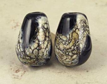 Teardrop Lampwork Glass Bead Pair with Organic Web Small Black
