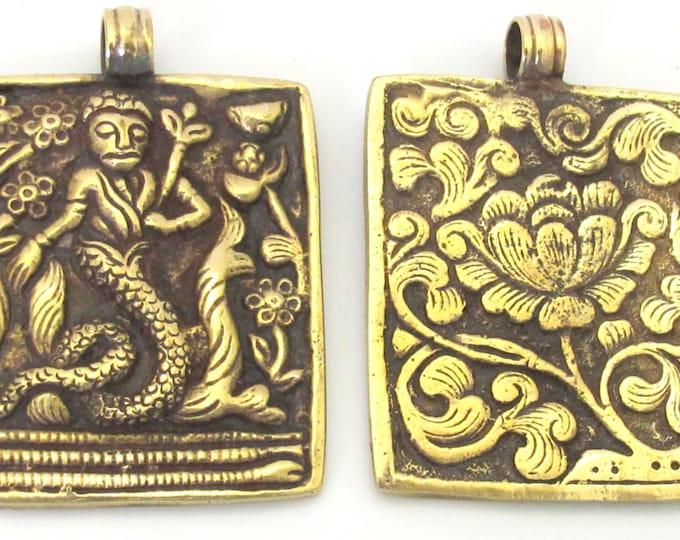 1 Pendant - Beautiful Reversible Tibetan Brass Mermaid pendant with reverse Lotus flower carving - CP073