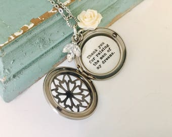 Thank you for raising the man of my dreams necklace, silver locket, Swarovski leaf, mother of the groom gift