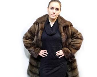 Luxury fur coat from three types fur Mink - Astrakhan - Fisher F401