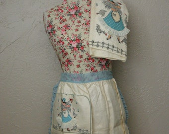Hostess Apron, Kitchen Towel Duo, Light Blue, French Farm Girl, Made by  Imperial ,Gray Chickens,Blue Sheer Trim