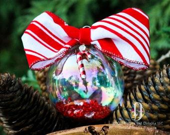 Candycane rayé rouge blanc diamant verre rond ornement, velours floqué ruban noeud papillon cristal Noël vacances décor d'arbre