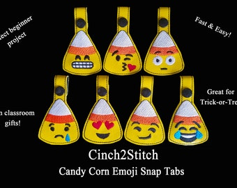 "Halloween Candy Corn Emoji Snap Tab / Key Fob - Trick or Treat Gifts - In The Hoop - Machine Embroidery Design Download (5""x7"" Hoop)"