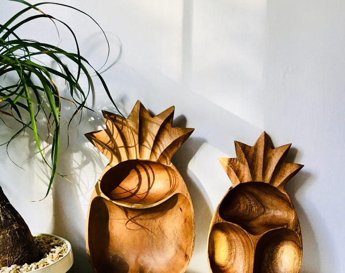 Featured listing image: Pair of Wooden Pineapple Serving Dishes - Vintage Pineapple Decor - Boho Home Decor - Large Monkeypod Dishes