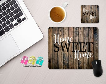 Home Sweet Home Custom Mouse Pad and Coaster Set - Personalized Desk Set - Monogram Mouse Pad - Teacher Gift - Custom Coaster