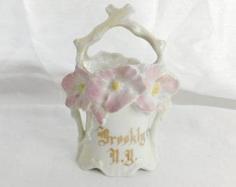 Victorian Era German Bisque Flower Vase Souvenir Brooklyn NY Box T