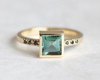 Green Tourmaline Ring, Mint Engagement Ring, Princess Engagement Ring, Tourmaline Engagement Ring, Black Diamond Ring
