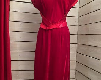 50s dress // vintage 1950s dress // beautiful red velvet party dress