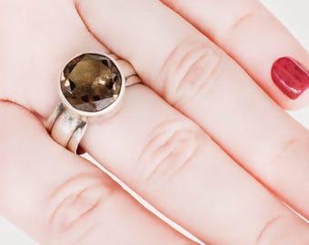 Vintage Ring - Vintage Smokey Quartz Sterling Silver Large Stone Ring
