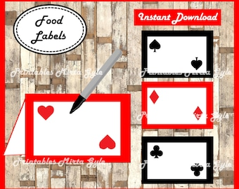 Casino Night Poker Food labels, printable Casino Night Poker party food tent cards , Casino Food tent cards