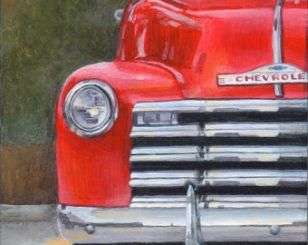 Classic Car Art, Limited Edition Transportation Art Print, Giclee of an Original Painting of a Red Pickup by Debbie Shirley