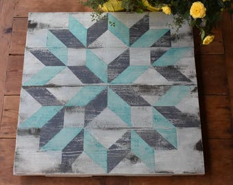 Barn Quilt Distressed Teal And Gray Colored  22 Inch
