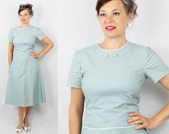 """1960s Dress / 60s Dress / Drop Waist Dress / Green Dress / Secretary Dress / Day Dress / 1950s Dress / 50s Dress /Bust 36"""" Waist 30"""""""