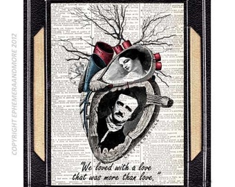 Edgar Allan Poe and Virginia art print Love Quote Annabel Lee heart horror literature steampunk wall decor vintage dictionary book page 8x10