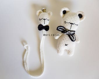 Crochet Bear Rattle Toy and Pacifier Clip Holder Set