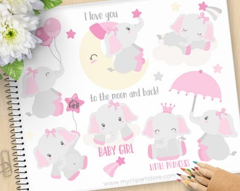 Baby Girl Elephant Clipart, Pink elephants, Moon, stars, princess, balloons, gender reveal, Commercial Use, Vector clip art, SVG Cut Files