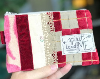 cosmetic bag, spirit lead me, christian gift, scripture and bible verses, friend gift, personalized, one of a kind gift, patchwork bag