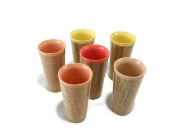Vintage Raffia Ware Beverage Set * 6 Tumblers