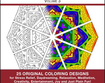 Anti Stress Coloring Book - PDF INSTANT DOWNLOAD - Coloring Book - Volume 3 - 25 Original Coloring Pages