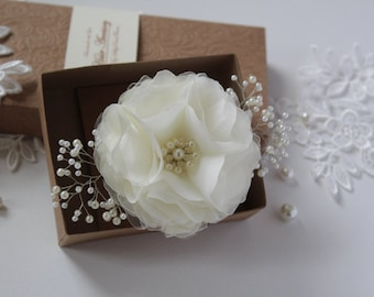 Flower Girl Hair Clip -Flower Girl Gift -Hair Flower with Pearls -Ivory Wedding Hairpieces -Hair Accessories -Bridal Hair Flowers