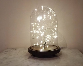 Glass Dome with Wood Base and String Lights/Cloche