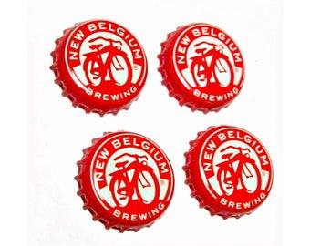 Craft Beer Magnet Set, Fat Tire Beer Cap Magnets, Beer Bottle Top Magnets, Set of Four, File Cabinet Magnet, Refrigerator Magnets