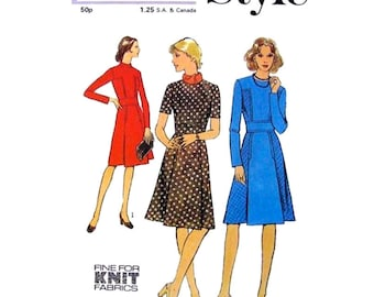 1970s Dress Pattern Style 4446 Midriff Band Dress Pleated Skirt Long Sleeves Womens Vintage Sewing Pattern Bust 34 UNCUT