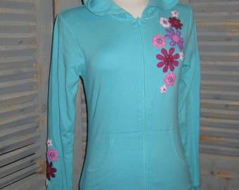 Embroidered Zip Hoodie, Yoga Top, Yoga Hoodie, Appliqued, Bohemian