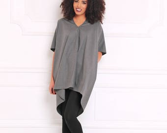 Women Tunic Top, Gray Tunic, V Neck Top, Loose Tunic, Maxi Top, Minimalist Clothing, Fashion Tunic Top, Trendy Plus Size Clothing, A3067