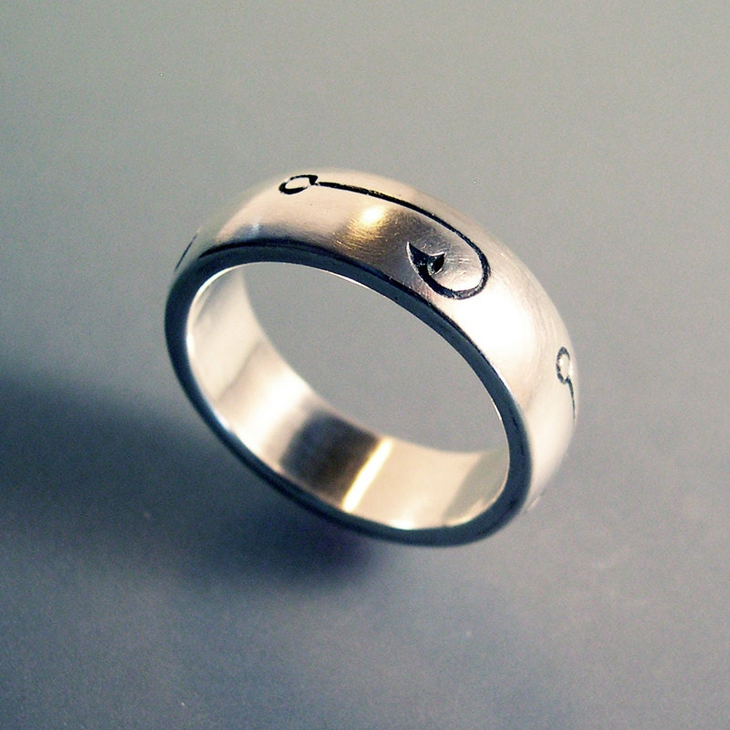 Fish Hook Fishing Ring or Fishing Wedding Band Fishing